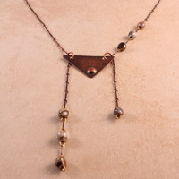 """Harmony"" Copper Triangular Necklace with Ceramic Beads"