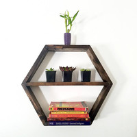Hexagon floating Shelf - Honeycomb Shelves - Geometric book Shelves - Modern storage