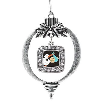 Stork Brings A Boy Square Charm Holiday Ornament