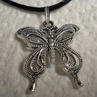 Tibetan Silver Lace Butterfly Necklace with Satin Cord