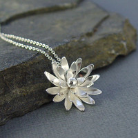 Sterling Silver Flower Chrysanthemum Necklace by Hapagirls on Etsy