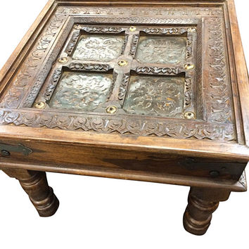 Vintage Corner Table Brass Iron Floral Cutwork Indian End Table