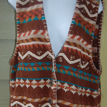 Vintage 80s Tribal Southwest Aztec Hunt Club Blanket Stitched Cardigan Sweater Vest Size Large