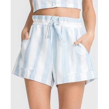 LUSH - stripe it out shorts with pockets - blue