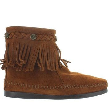 Minnetonka Back Zip Brown Suede Ankle Boot