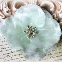 Rhinestone Centered Mint Green Velvet And Organza Bridal Crafting Fabric Flowers Approx. 3.75 inches across FL-103