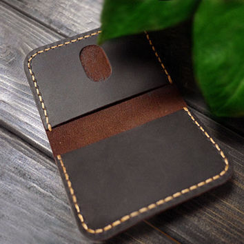 Personalized Card Holder/Minimalist Leather Card Holder/ Slim Handmade Wallet Case / Vertical Slot card wallet /Men's Card Case/Best Gifts