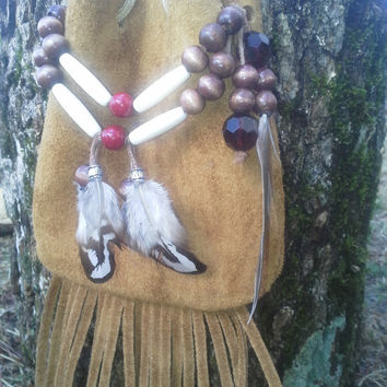 Leather, bag, fringed, fringe, Native, American, style, small, purse , natural, beaded, drawstring, medicine bag, foraging, gathering, pouch