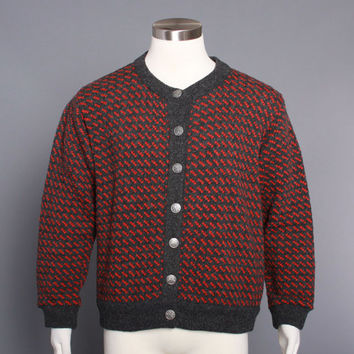 80s LL Bean Norwegian SWEATER / Nordic Birdseye Wool CARDIGAN, L