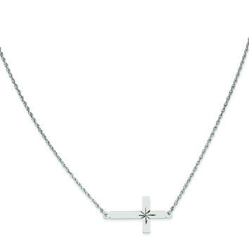 Sterling Silver Large D/C Sideways Cross Necklace QG3467