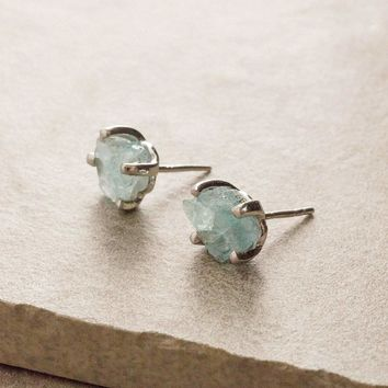 Aquamarine Stud Earrings - One Of A Kind