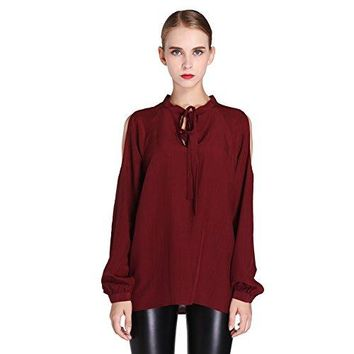 NCF Womens 100 Natural Silk CDC Bow Blouse Shirt with Cold Shoulder