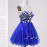 Short sweetheart strapless beading blue homecoming dress,Knee length beading homecoming dress,Short party dress,Short blue prom dress