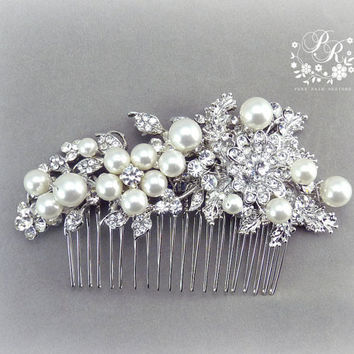 Wedding Hair Comb Swarovski Pearl Rhinestone & Crystal Bridal hair tiara comb Wedding Hair accessory