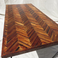Reclaimed wood herringbone dining table ~ dark wood