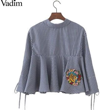 Women bow tie tiger flower embroidery striped shirts ruffles loose pleated blouse casual blue female tops blusas LT1303