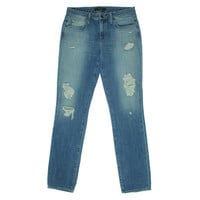 Genetic Womens Matchstick Destroyed Mid Rise Skinny Jeans