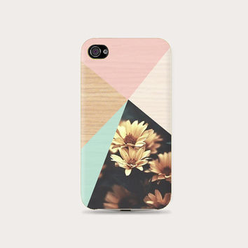 Wood Yellow Cute Floral Geometric Plastic Hard Case - iphone 5/5s - iphone 4 - iphone 4s - Samsung S3 - Samsung S4 - Samsung Note 2