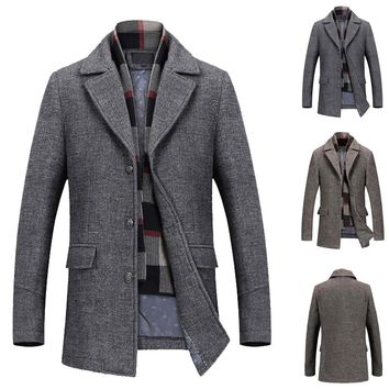 Business Long Thicken Slim Men's Casual Wool Trench Coat