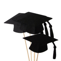 12 Black Cap Graduation Cupcake Toppers, Toothpicks, Graduation Party Decor - No1070