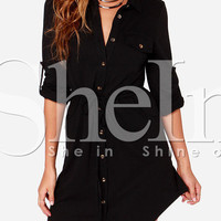 Black Long Sleeve V Neck Buttoned A-line Mini Dress