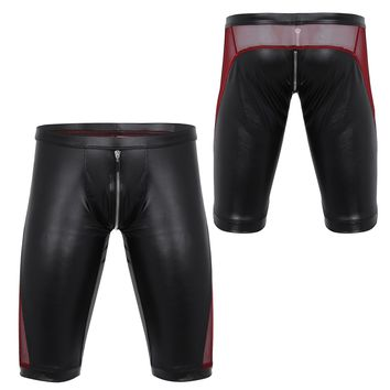 Faux Leather Zipper Crotch Mens Shorts Soft Boxer Lightweight Gay Men Tight Underwear Low Rise Slim Fit Trunk Sexy Short Boxers