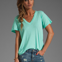 Velvet Kim Sheer Jeresy V Neck Tee in Aloe from REVOLVEclothing.com