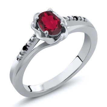 Red Mystic Topaz Black Diamond 925 Sterling Silver Ring