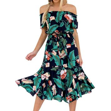 Floral Plant Hawaiian Leaf Midi Boho Dress Women Off shoulder