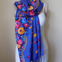 Russian scarf blue scarf floral scarf winter head scarf fringe shawl women scarves,rusiian scarf blue,beige,black,pink,brown