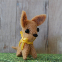 Miniature Felt Chihuahua  yellow bow by TinyPets on Etsy