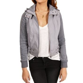Heather Grey Hooded Bomber Jacket
