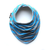 Blue and gray stripes Drool Bib - Infant and/or Toddler Bandanna Bib - Baby scarf - Gender neutral or baby boy