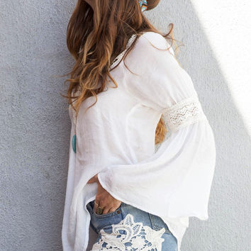 Crochet Lace Inset Bell Sleeve Top - White