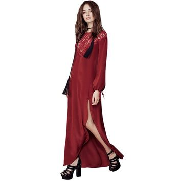 Vintage Round Collar Long Sleeve Hollow Out Pure Color Backless High Split Dress for Women