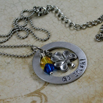 "Hand Stamped Aluminum Necklace ""Go Irish""  Notre Dame Football Fans"