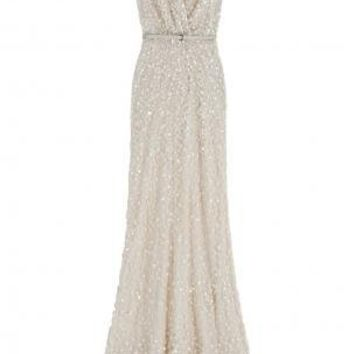 Boutique 1 - ELIE SAAB - Beige Cutout Back Sequin Gown | Boutique1.com