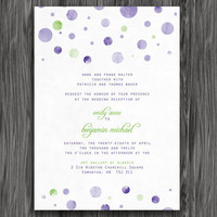 Purple and Green Polka Dots Customizable Printable Wedding Invite