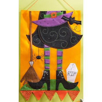 "Witch Bucilla Felt Wall Hanging Applique Kit 15""X22.5"""
