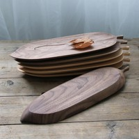 Beautiful Black Walnut Wooden Plate Tableware