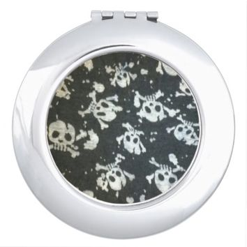 Black and White Skull Print Compact Mirror