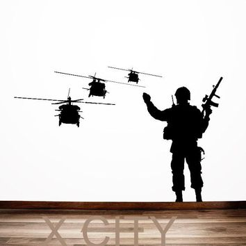 Military Troop Soldier Waving in Choppers Silhouette WALL ART STICKER VINYL DECAL DIE CUT ROOM STENCIL MURAL HOME OFFICE DECOR