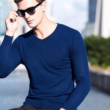 Men's Cashmere Sweater V-neck Knitted Wool Cashmere Sweater High-end Cashmere Pullover Cashmere