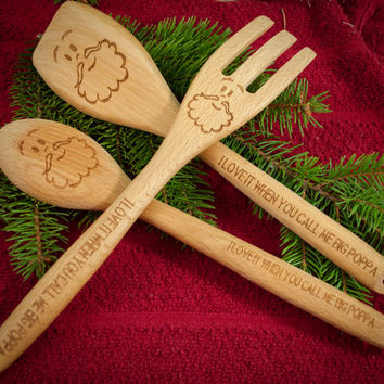 Santa 3pc set,love it when you call me Big Poppa Engraved Spoon Wood Personalized Gifts  Holiday Gift-Christmas Gift - Holiday Kitchen Ideas