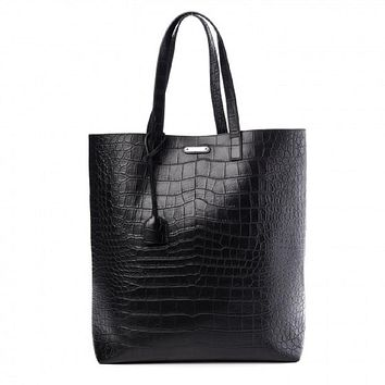 Yves Saint Laurent Unisex Croc Embossed Black Leather Shopping Tote