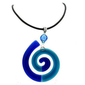 Giant Finite Swirl Glass Pendant Necklace Blue - Tili Glass