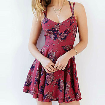 Summer Spaghetti Strap Floral Print Sun Dress