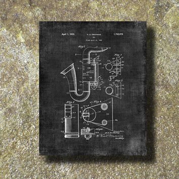 Bassic Sax Patent Print 1930 Art Illustration Printable Instant Download Poster UP043grad