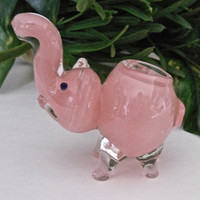 Pink Frit Elephant Glass Pipe