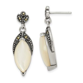 925 Sterling Silver Mother of Pearl and Marcasite Post Dangle Earrings